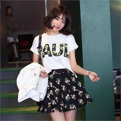 midnightCOCO - Set: Printed T-Shirt + Floral Print Skirt