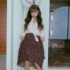 QZ Lady - Set: Bow Waist Blouse + High Waist Midi Skirt