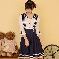 Moriville - Set: Sailor Collar Blouse + Jumper Skirt