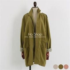 Ho Shop - Drawstring-Waist Trench Jacket