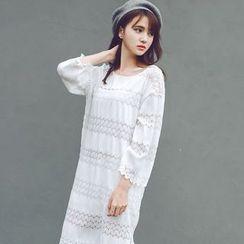 微米家 - 蕾絲長袖連衣裙
