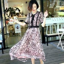 Queen Mulock - Tie-Neck Silk Dress