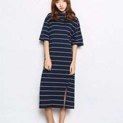 Sienne - Elbow-Sleeve Striped T-Shirt Dress