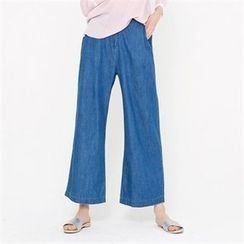 MAGJAY - Banded-Waist Wide-Leg Jeans
