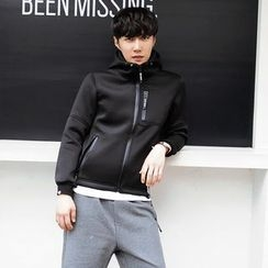MEING - Hooded Drawstring Zip Jacket