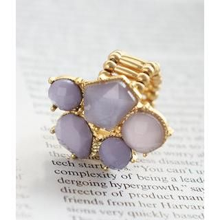 Petit et Belle - Faceted Cluster Cocktail Adjustable Ring