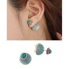 Miss21 Korea - Double-Sided Faux-Pearl Earrings
