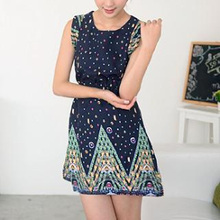 59 Seconds - Jewel Print Sleeveless A-Line Dress