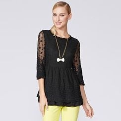 O.SA - 3/4-Sleeve Gathered-Waist Lace Top