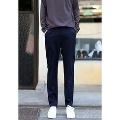 PLAYS - Band-Waist Contrast-Piping Pants