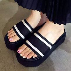 SouthBay Shoes - Striped Platform Slide Sandals