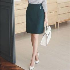 ode' - Metal-Trim Pencil Skirt