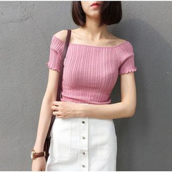 MATO - Frilled Trim Off Shoulder T-Shirt