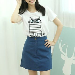 Dodostyle - Cat Print Round-Neck T-Shirt
