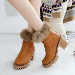 Pastel Pairs - Furry Trim Chunky Heel Ankle Boots