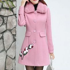 Donnae - Floral Embroidered Woolen Coat