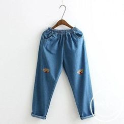 PANDAGO - Bear Embroidered Washed Jeans