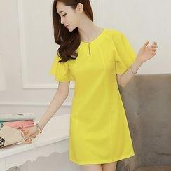 Bornite - Plain Short Sleeve Shift Dress