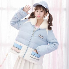 Moriville - Furry Collar Cartoon Print Down Jacket
