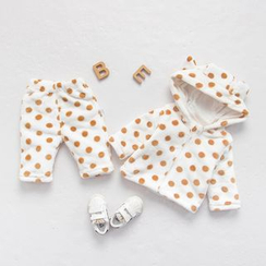 MOM Kiss - Baby Set : Dotted Hooded Top + Pants