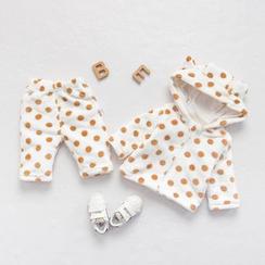 MOM Kiss - 嬰兒套裝: 圓點連帽上衣 + 褲子
