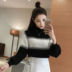 lilygirl - Mock Neck Two-Tone Sweater