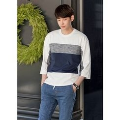 GERIO - 3/4-Sleeve Color-Block T-Shirt