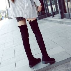Danso - Plain Low Heel Over-the-Knee Boots