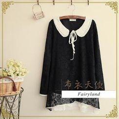 Fairyland - Long-Sleeve Peter Pan Collar Lace Top