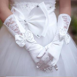 Luxury Style - Bow-Accent Lace Panel Wedding Gloves