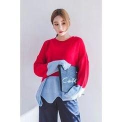 migunstyle - Round-Neck Color-Block Knit Top
