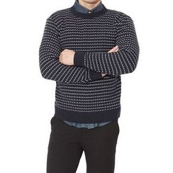 Seoul Homme - Round-Neck Striped Knit Top