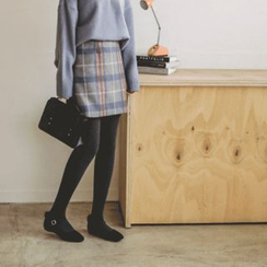 JUSTONE - Inset Shorts Plaid Wool Blend Mini Skirt