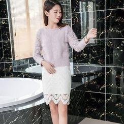 潞依韓 - 蕾絲拼接短裙