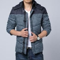 Alvicio - Color-Block Hood Padded Jacket