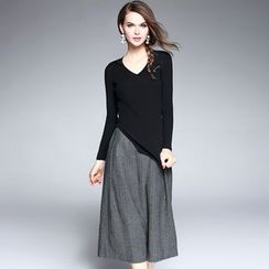 Ozipan - Set: Ribbed Knit Top + Cropped Wide-Leg Pants