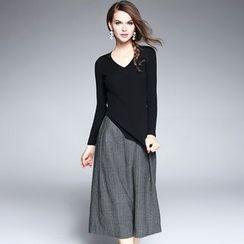 欧依潮派 - 套装: 罗纹针织上衣 + 七分阔腿裤