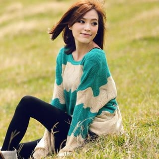 Tokyo Fashion - Color-Block Pointelle-Knit Sweater