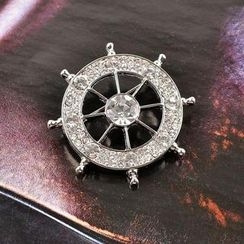 Trend Cool - Rhinestone Ship's Wheel Brooch