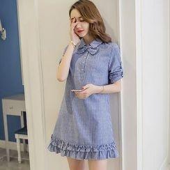 Merald - 3/4-Sleeve Pinstriped A-Line Dress