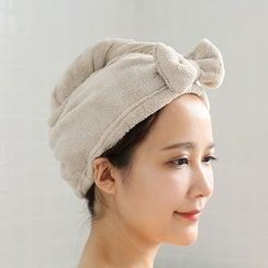 Lazy Corner - Bow-Accent Hair Drying Towel