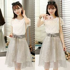 Ashlee - Set: Short-Sleeve Lace Top + Bow Waist Sheer Panel Skirt