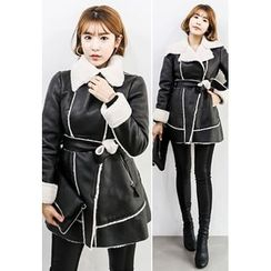 INSTYLEFIT - Diagonal-Zip Faux-Shearling Coat with Sash