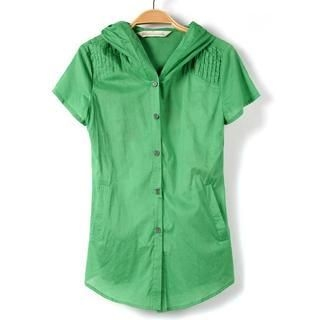 9mg - Short-Sleeve Pintuck Hooded Shirt