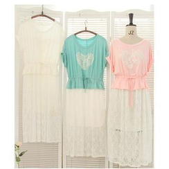 11.STREET - Mock Two-Pieces Lace Dress
