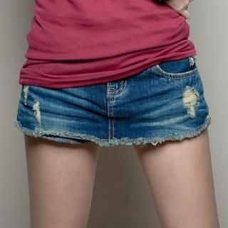 CUTIE FASHION - Fray-Hem Distressed Denim Shorts