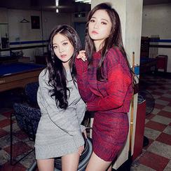 chuu - Set: Mélange Sweater + Mini Pencil Skirt