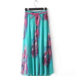 Flower Idea - Drawstring-Waist Printed Maxi Skirt