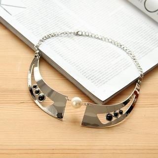 Petit et Belle - Faux Pearl Metallic Collar