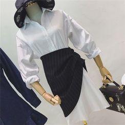 Octavia - 套装: 纯色长衬衫 + 细条纹不对称裙子